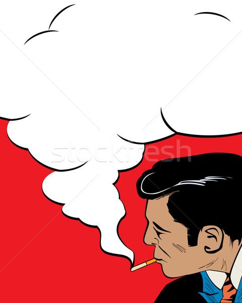 Sigara tiryakisi komik stil bağbozumu adam sigara içme Stok fotoğraf © lirch