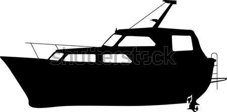 Rybak jezioro czarno białe scena żeglarstwo połowów Zdjęcia stock © lirch