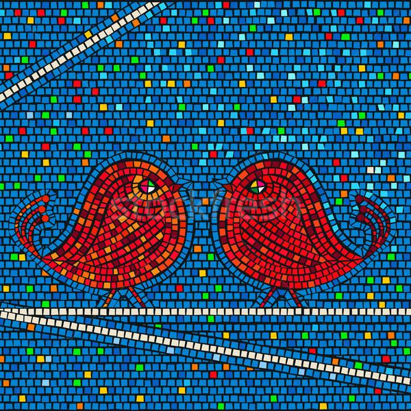 Mozaiki ptaków płytek kolorowy tekstury streszczenie Zdjęcia stock © lirch
