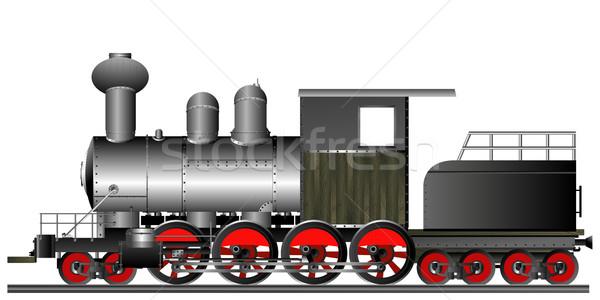 Oude stijl locomotief stoom motor zwarte Stockfoto © lirch