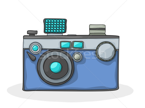 Retro kamera retro tarzı karikatür fotoğraf çizim Stok fotoğraf © lirch