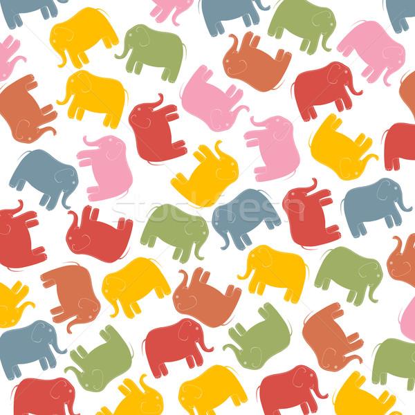 Pasztell elefántok egér művészet állat cirkusz Stock fotó © lirch
