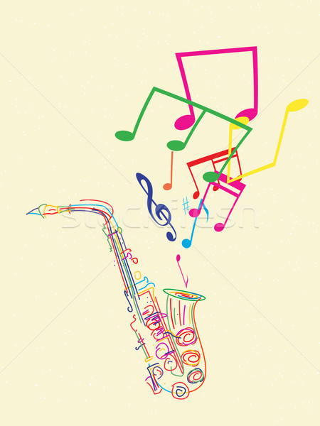 Saxophone with musical notes Stock photo © lirch