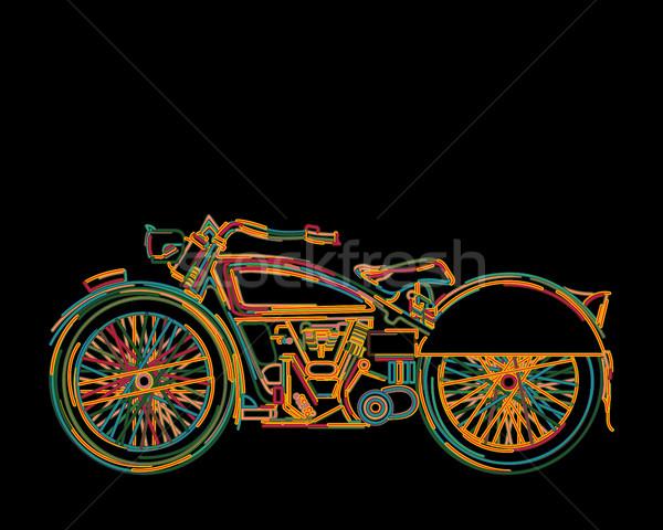Vintage motocicleta cartão cores isolado objetos Foto stock © lirch