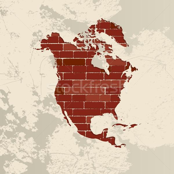 Kuzey Amerika duvar harita tuğla duvar okyanus Stok fotoğraf © lirch