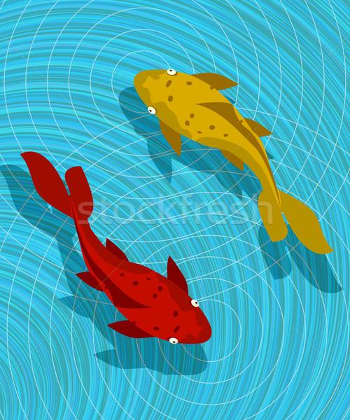 Koi vis scène grafische abstract kunst Stockfoto © lirch