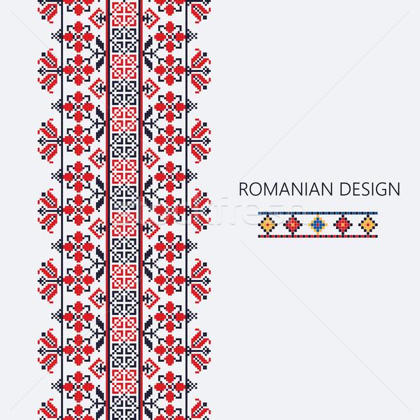 румынский вертикальный границе декоративный орнамент традиционный Сток-фото © lirch