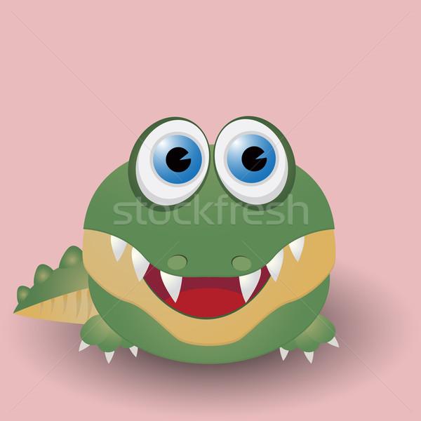 Aranyos baba krokodil rajz boldog zöld Stock fotó © lirch
