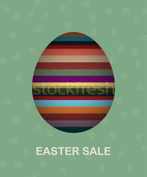 Húsvét vásár kártya színes tojás virágok boldog Stock fotó © lirch