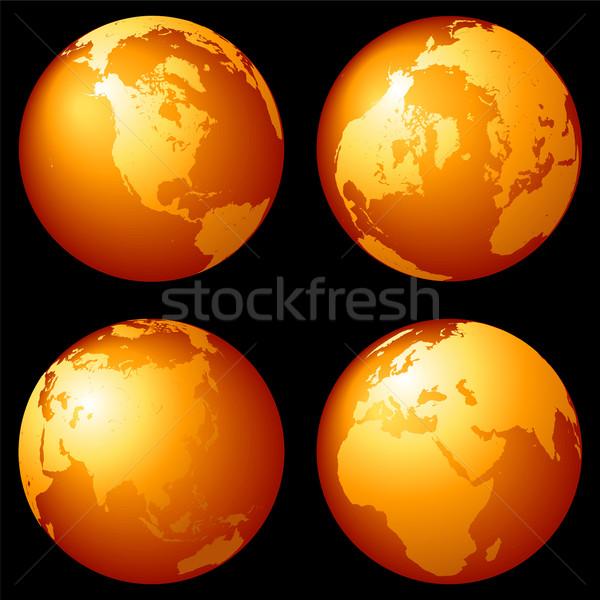 Stockfoto: Aarde · globes · ingesteld · bronzen · zwarte · oceaan