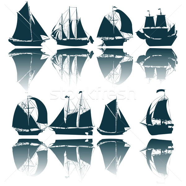Vitorlás hajó sziluettek gyűjtemény fehér tenger óceán Stock fotó © lirch