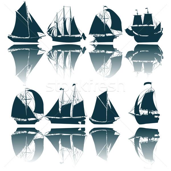 Sailing ship silhouettes Stock photo © lirch