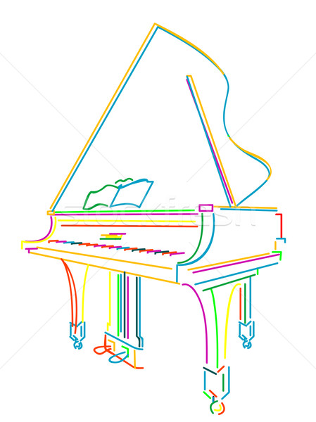 Grand piano over white Stock photo © lirch