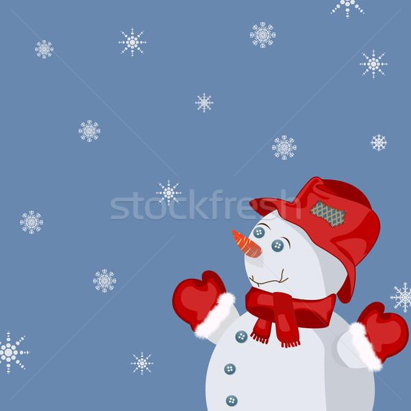 Año nuevo tarjeta celebración sonriendo muñeco de nieve nieve Foto stock © lirch