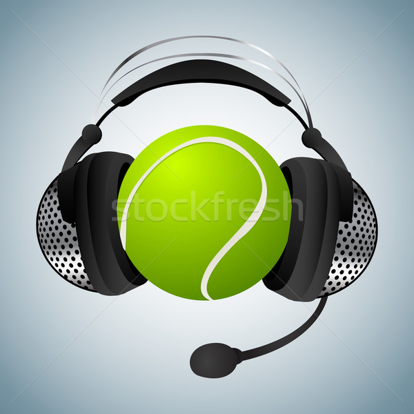 Piłka tenisowa słuchawki mikrofon sportu zielone piłka Zdjęcia stock © lirch