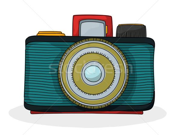 Foto stock: Retro · desenho · animado · câmera · estilo · retro · foto · desenho
