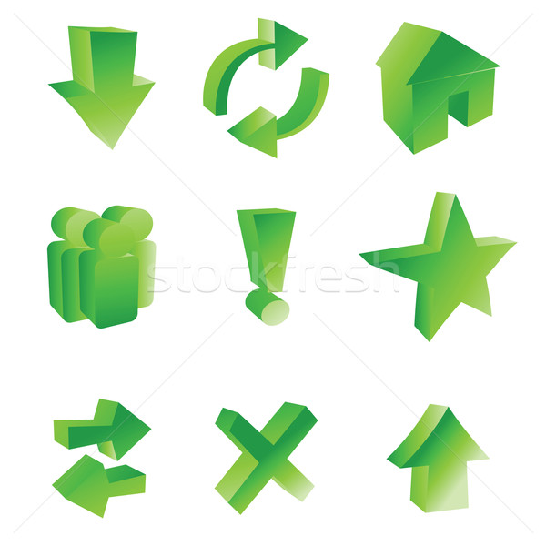 Foto stock: Iconos · de · la · web · estilizado · blanco · negocios · verde · carta