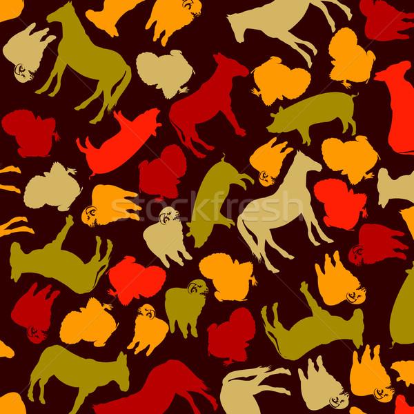 farm animals silhouettes Stock photo © lirch