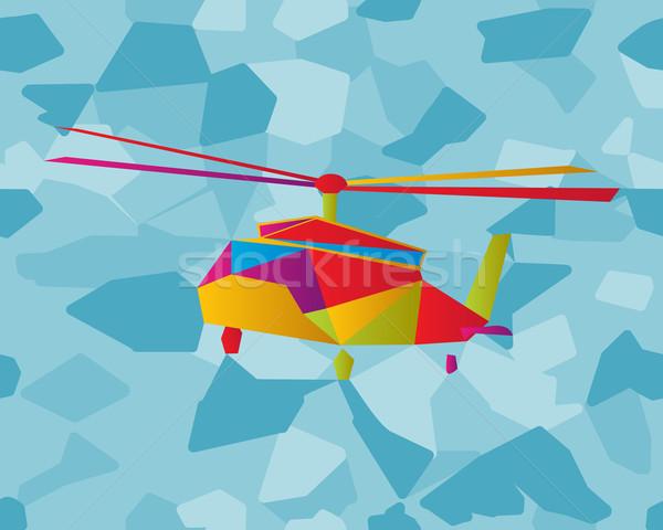 Glasmalerei Hubschrauber Grafik Künste Glas Vogel Stock foto © lirch