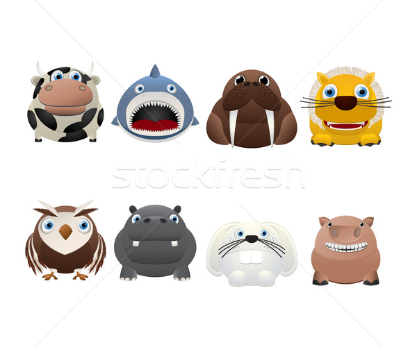 Funny animal icons Stock photo © lirch