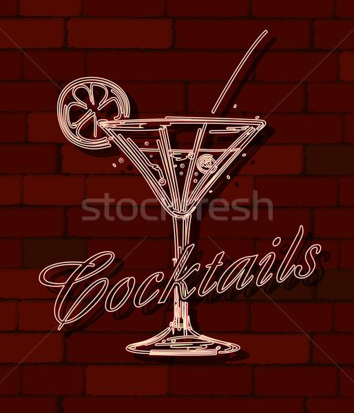Koktajle neon murem działalności tle restauracji Zdjęcia stock © lirch