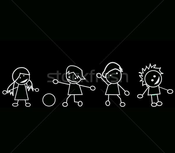 Kids silhouettes Stock photo © lirch