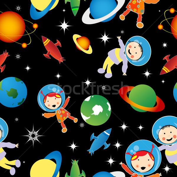 Padrão desenho planetas estrelas projeto fundo Foto stock © lirch