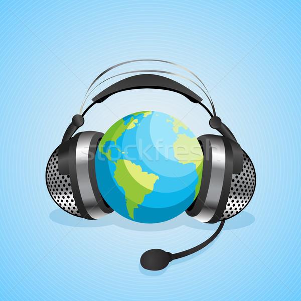Világ kommunikáció grafikus online chat fejhallgató Stock fotó © lirch