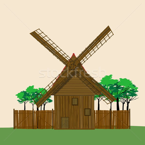 Windmill and garden Stock photo © lirch