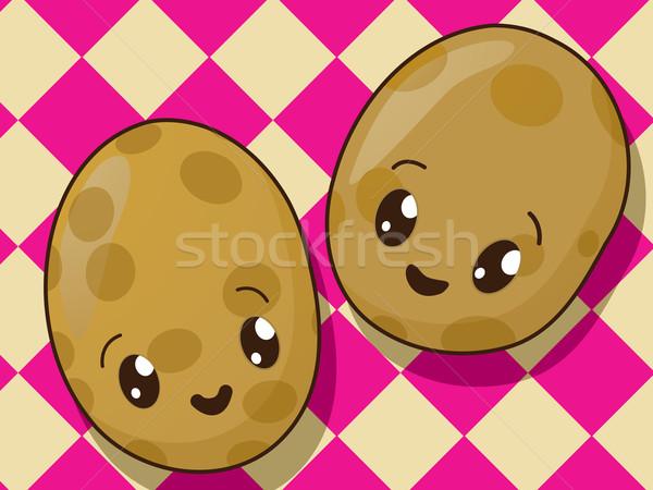 Kawaii papa iconos estilo dibujo alimentos Foto stock © lirch