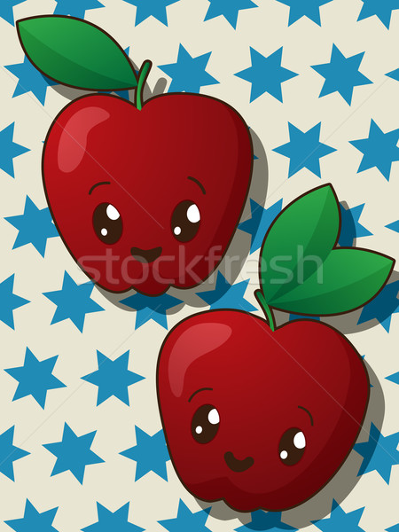 Kawaii pomme icônes style dessin alimentaire Photo stock © lirch