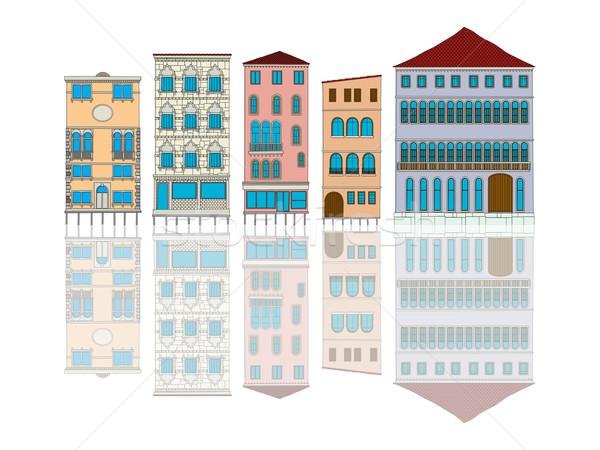 Venedik evler karikatür beyaz ev şehir Stok fotoğraf © lirch