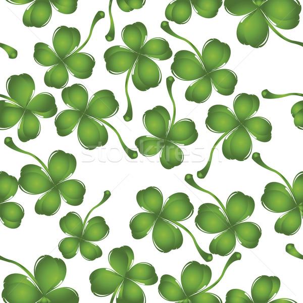 Trébol patrón frescos cuatro hojas verde Foto stock © lirch