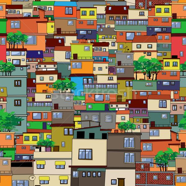 Cartoon ciudad diseno árbol pared Foto stock © lirch