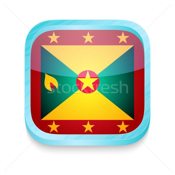 Okostelefon gomb Grenada zászló telefon háló Stock fotó © lirch