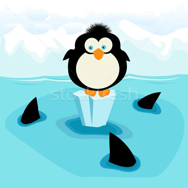 Pingvin kicsi három cápák hó háttér Stock fotó © lirch