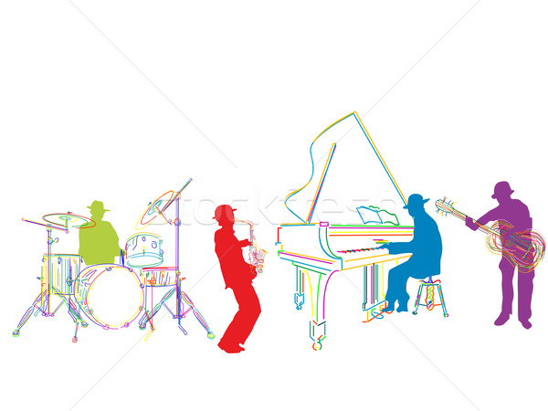 Jazz bande croquis isolé homme design Photo stock © lirch
