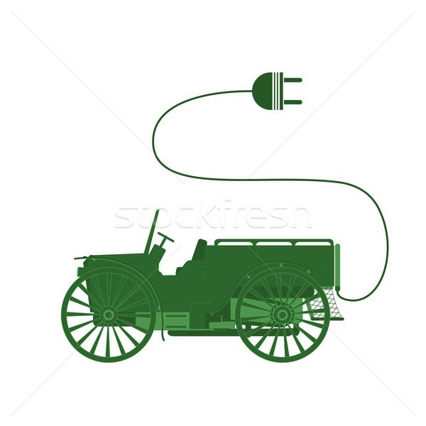 Voiture électrique symbole classique objets isolés blanche industrie Photo stock © lirch