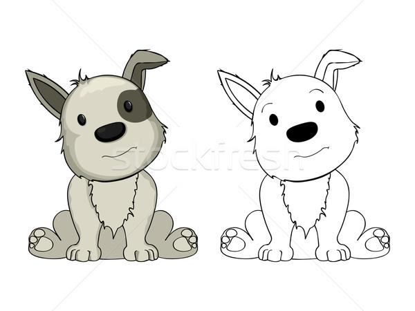 Desenho Animado Cachorro Desenho Branco Bebe Feliz