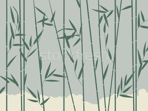 Bambusz háttér illusztráció stilizált levelek fa Stock fotó © lirch