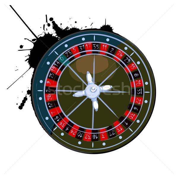 Foto stock: Edad · rueda · de · la · ruleta · blanco · diversión · rojo · negro