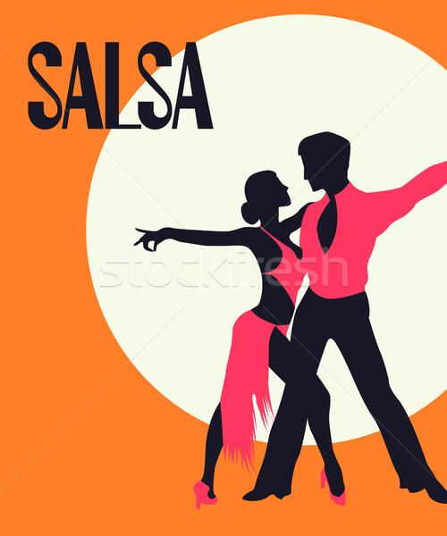 Salsa tancerzy karty plakat elegancki para Zdjęcia stock © lirch