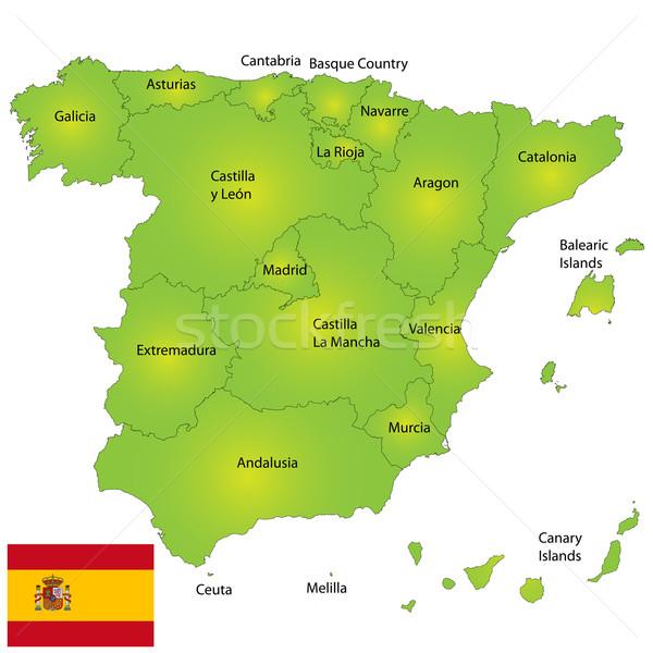 Spanje kaart gedetailleerd ontwerp cultuur Madrid Stockfoto © lirch