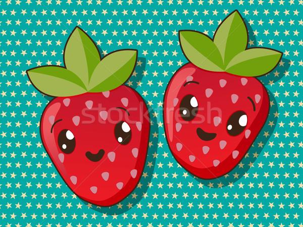 Kawaii truskawki ikona stylu rysunek żywności Zdjęcia stock © lirch
