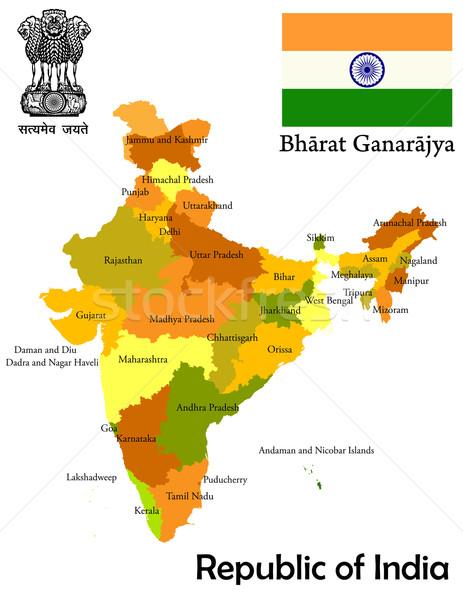 Térkép India szövetség zászló város terv Stock fotó © lirch