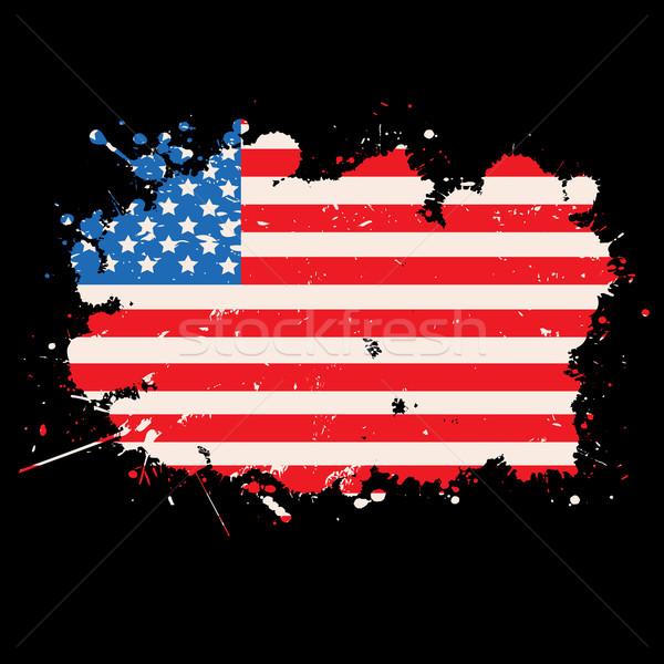 USA grunge zászló fekete háttér keret Stock fotó © lirch
