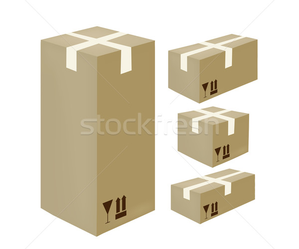 Isometric card-box icons Stock photo © lirch