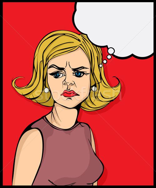 Retro néz mérges nő pop art grafikus Stock fotó © lirch
