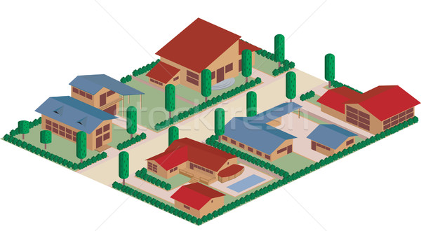 Residential district cartoon Stock photo © lirch