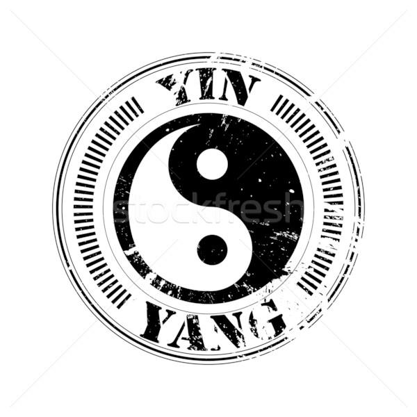 Stock photo: yin and yang stamp